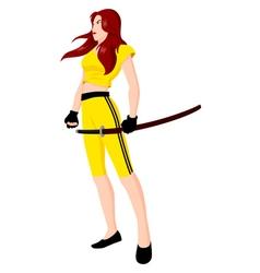 warrior girl with sword vector image