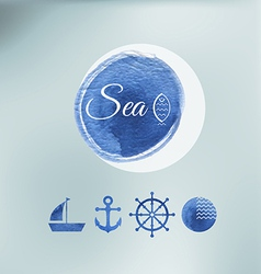 Water color sea elements of design vector
