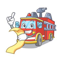 with menu fire truck mascot cartoon vector image