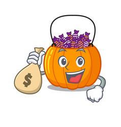 With money bag candy bucket in a cartoon jar vector
