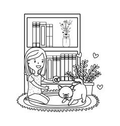 woman playing with cat black and white vector image