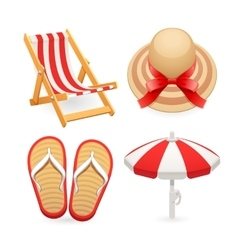 Beach Accessories Icons Set vector image