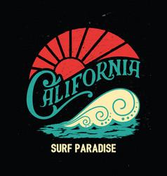california vintage printsurf graphic vector image vector image