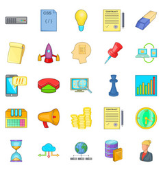 earning online icons set cartoon style vector image vector image