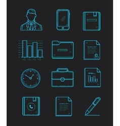 modern office and business icons set on the dark vector image vector image