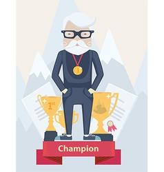 Old man champion in sport vector image