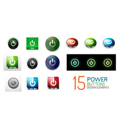 set of round start power buttons vector image vector image