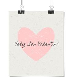 spanish st valentines day poster vintage design vector image vector image