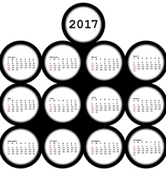 2017 black circles calendar for office vector image vector image