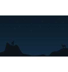 Deer on the cliff Christmas landscape vector image vector image