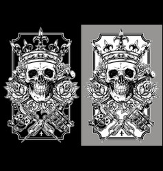 graphic skull with crossed tattoo machines set vector image vector image
