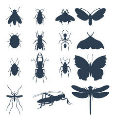 insects silhouette icons isolated wildlife wing vector image vector image