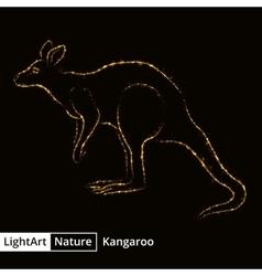Kangaroo silhouette of lights on black background vector image