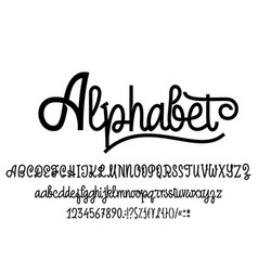 latin alphabet font handwriting with upper and vector image