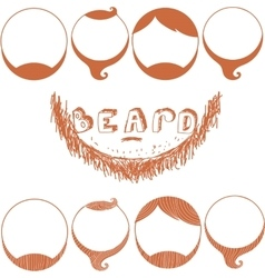 Set of Beard Silhouettes Types of Beards vector image vector image