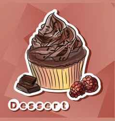 sticker with chocolat cake vector image vector image