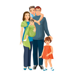big family mother father baby boy toddler girl vector image