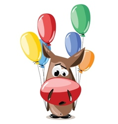 donkey with balloons vector image