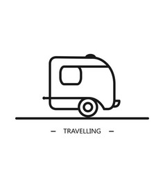 linear style camping trailer on the white vector image