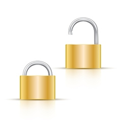 Locked and unlocked padlock Icon isolated on white vector image vector image