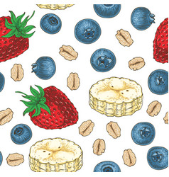 Seamless pattern with fruits and oat flakes vector