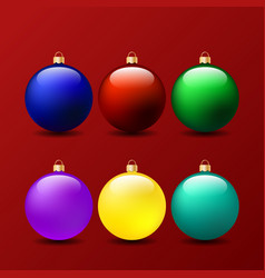 set of christmas balls on a red background vector image vector image