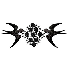 swallow bird with flourishes vector image