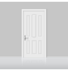 Closed white door with frame isolated vector image