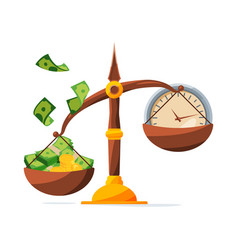save your money clock and money on scales vector image vector image