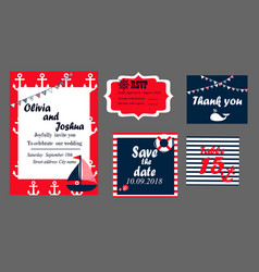 wedding invitation cards set nautical style vector image