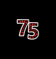 75 anniversary celebration bubble red number vector