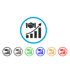 Acquisition hands growth chart rounded icon vector