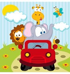 animals by car vector image vector image
