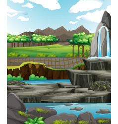 Background scene with water and rocks vector