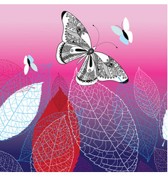Background with beautiful butterflies vector