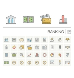 Banking and finance color icons vector