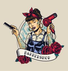 barbershop vintage colorful label vector image