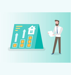 Bearded man financial investor with sheet paper vector