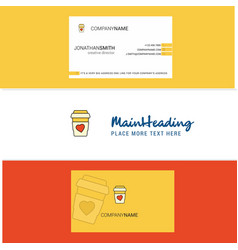 beautiful juice glass logo and business card vector image