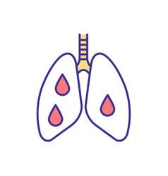 Bleeding into lungs rgb color icon vector