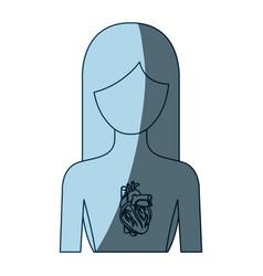 Blue color shading silhouette half body female vector
