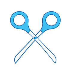 blue icon scissors cartoon vector image