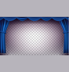 Blue theater curtain transparent vector