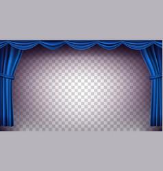 Blue theater curtain transparent vector