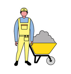 builder character with wheelbarrow cement vector image