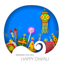 burning diya and firecracker on happy diwali vector image
