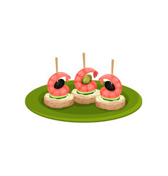 Canape with shrimps black olives slices of vector