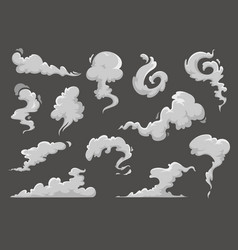 cartoon clouds steaming smoke and steam flows vector image