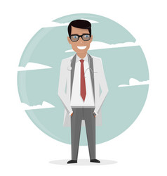 cartoon doctor in uniform and tie character man vector image