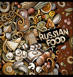 cartoon doodles russian food frame vector image